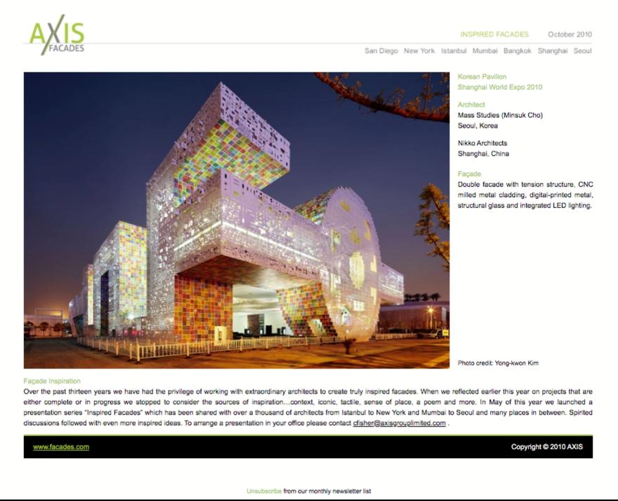 Axis Facades - Korean Pavilion - html emailer