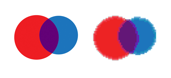 simple circle logo in vector art compared with raster art version